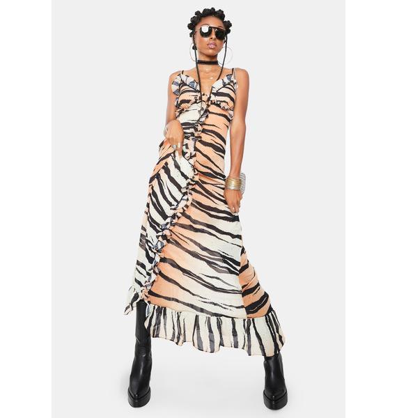 Kiki Riki Ferocious Fancy Tiger Print Maxi Dress