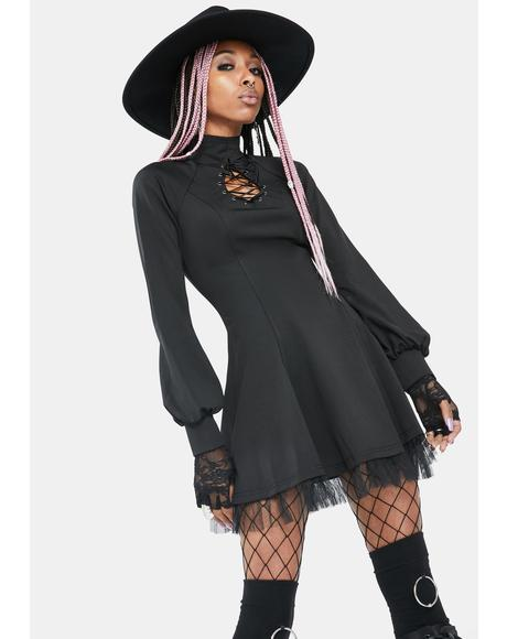 Keyhole Long Sleeve Mini Dress