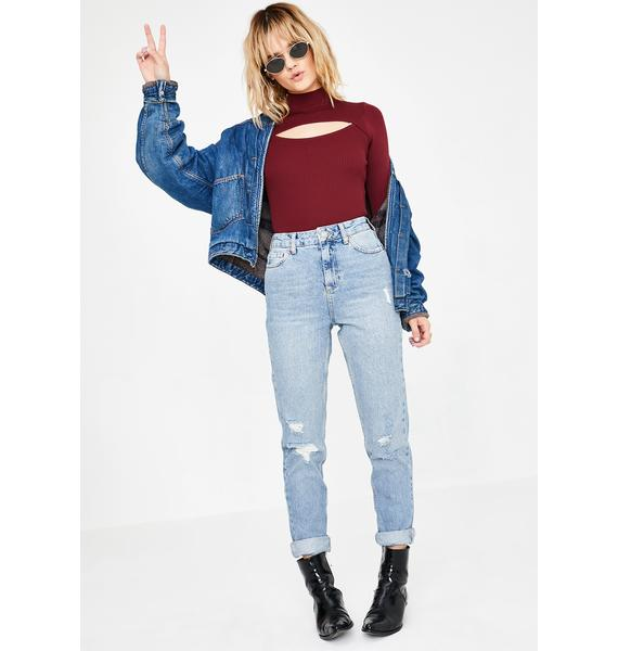 BDG Maroon Cutout Cropped Sweater