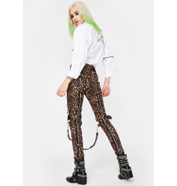 Tripp NYC Leopard Classic Slim Leg Bondage Pants