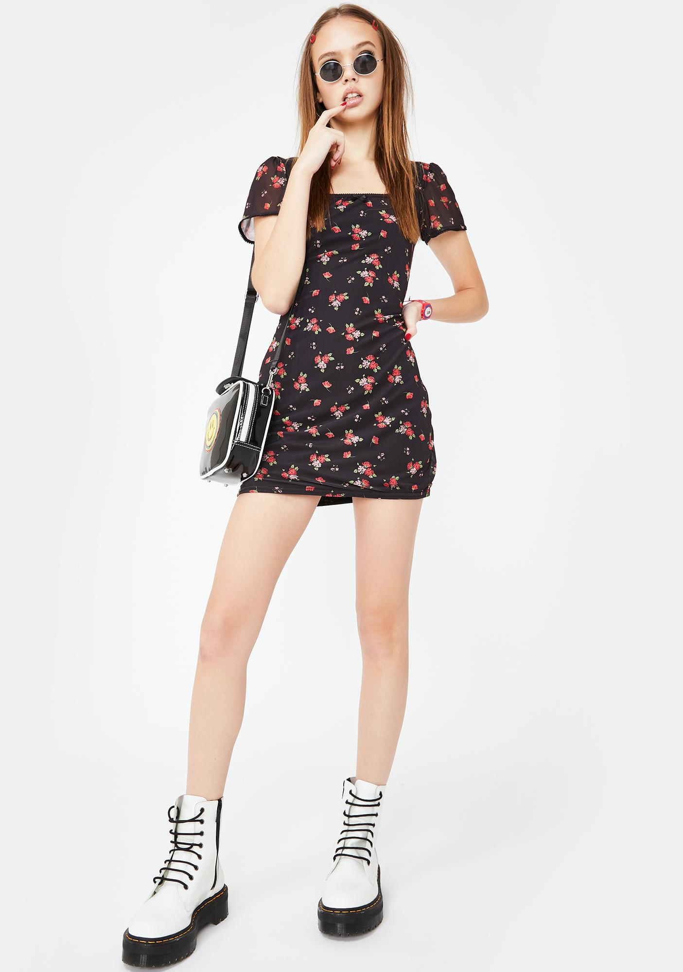 Daisy Street Rose Mesh Mini Dress