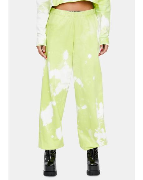 Green Apple Tie Dye Sweatpants