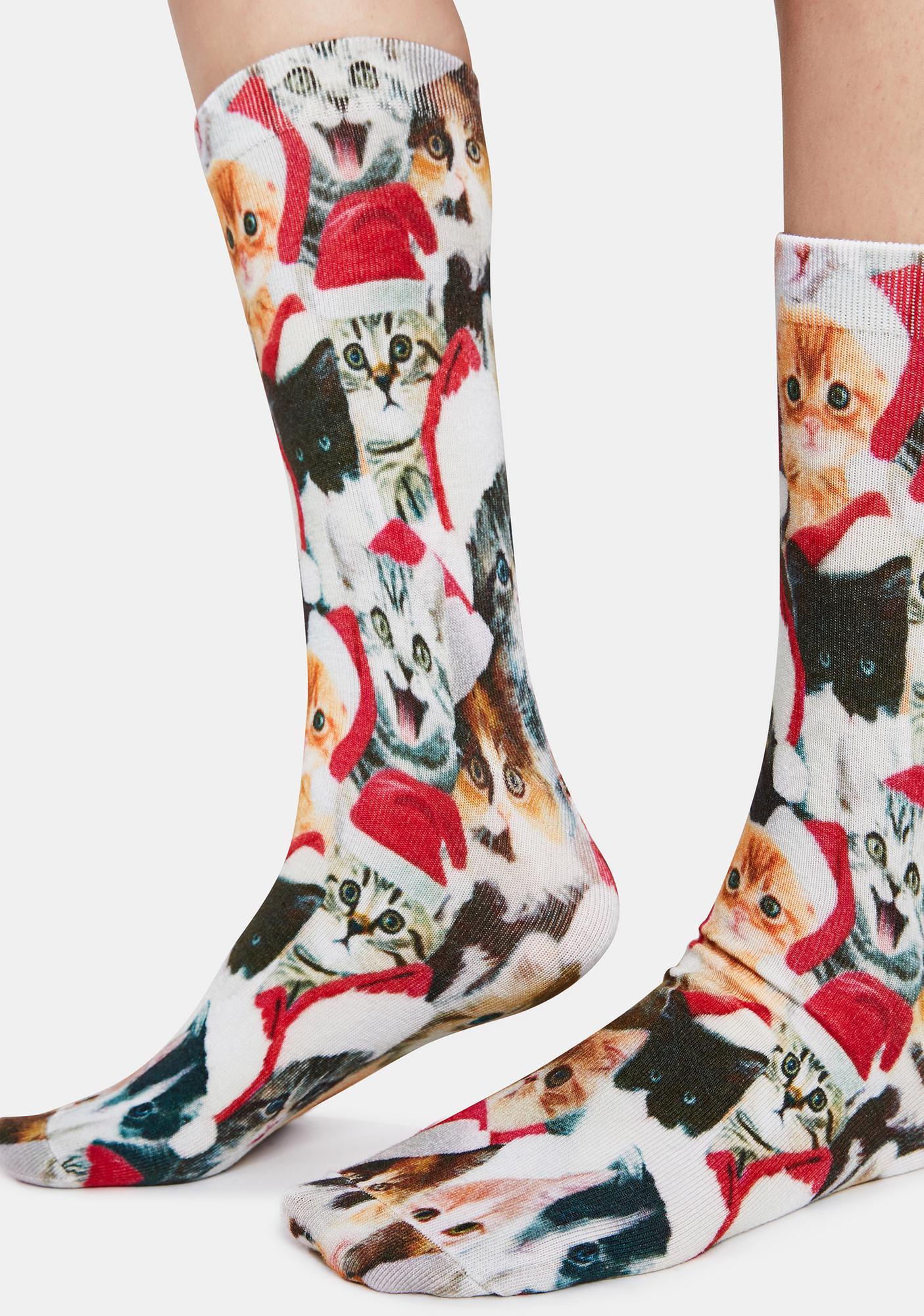 Tipsy Elves Meowy Catmus Graphic Crew Socks