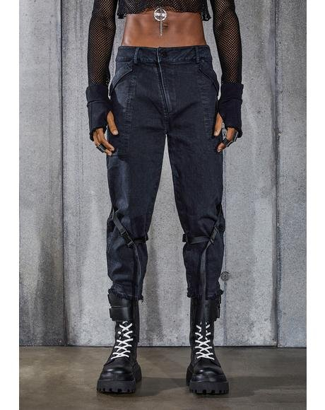 Snare Washed Black Denim Buckle Cargo Pants