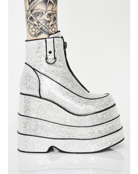 Discotheque Glitter Platform Boots