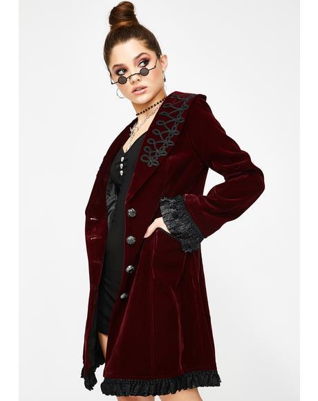 Red Velvet Trench Coat