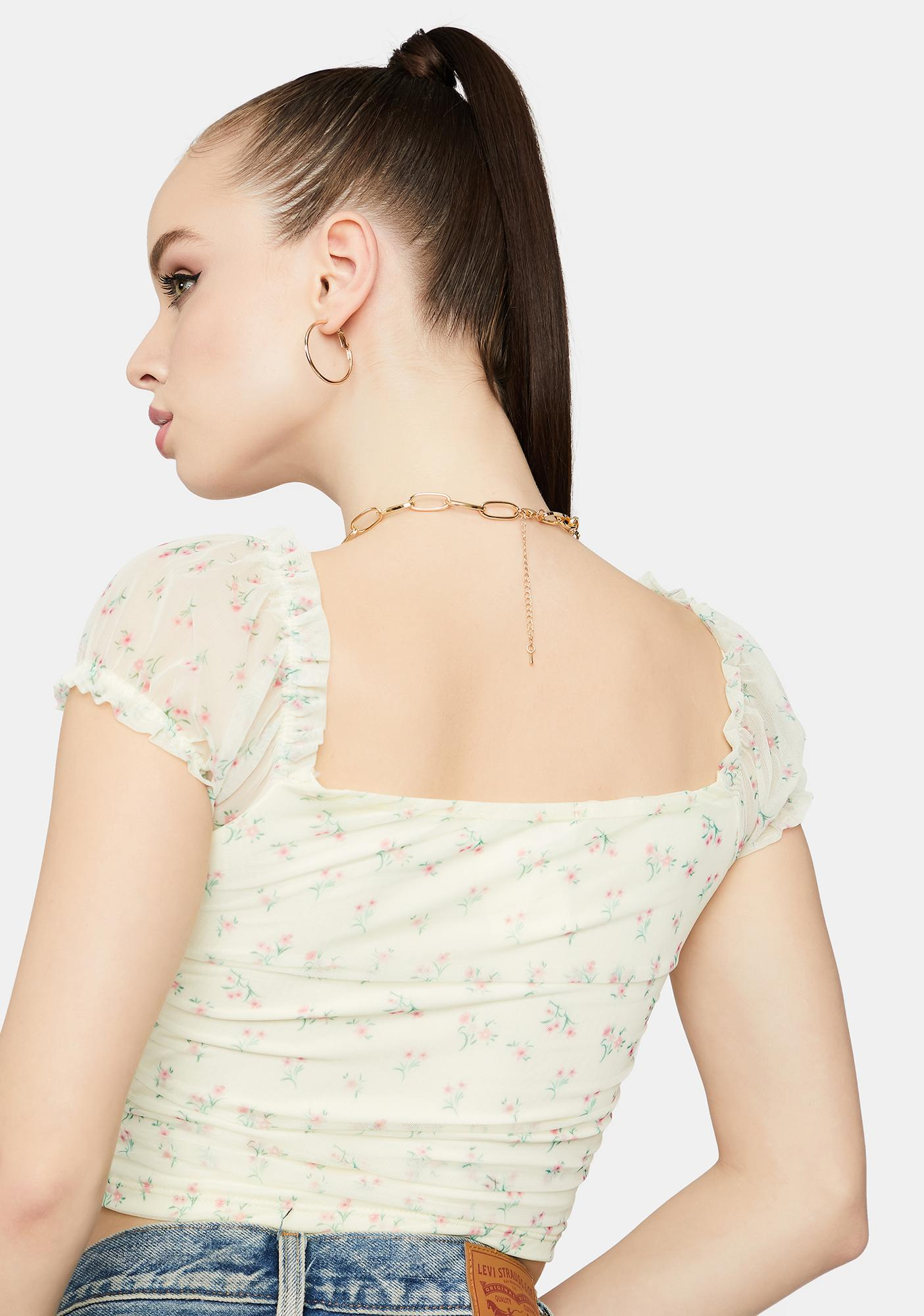 Bless Ur Heart Ruched Floral Crop Top