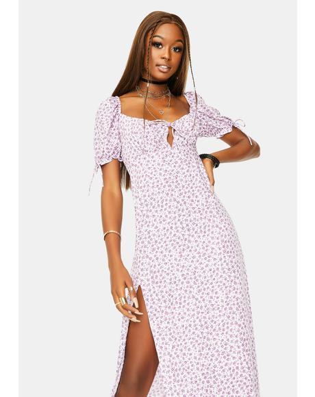 Ditsy Rose Lilac Cello Midi Dress