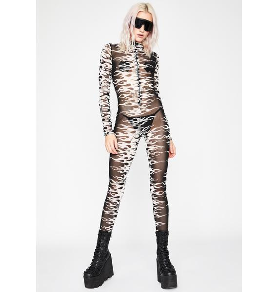 Sinister Flaming Fatality Mesh Jumpsuit