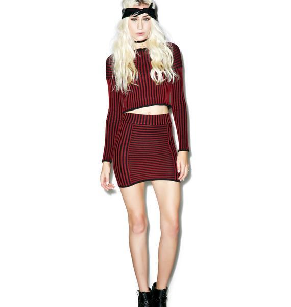 For Love & Lemons Switch Stripe Mini Skirt