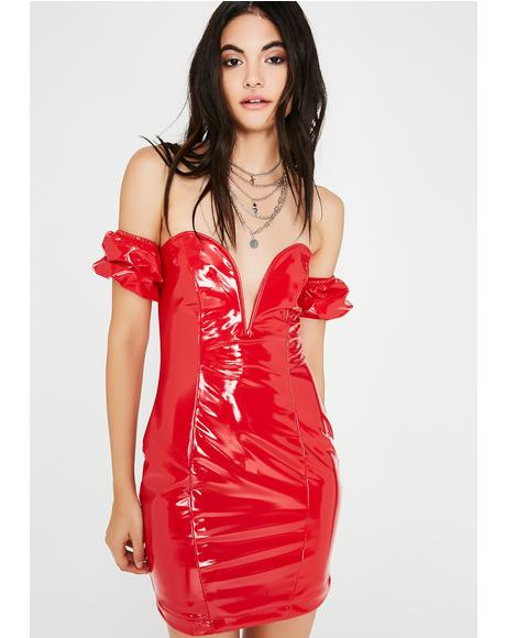 Red Light Vinyl Dress