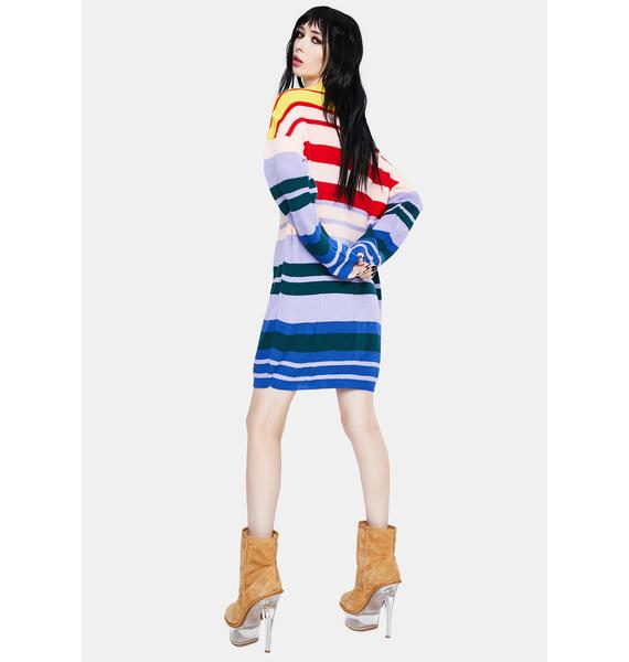 Daisy Street Rainbow Knitted Midi Dress