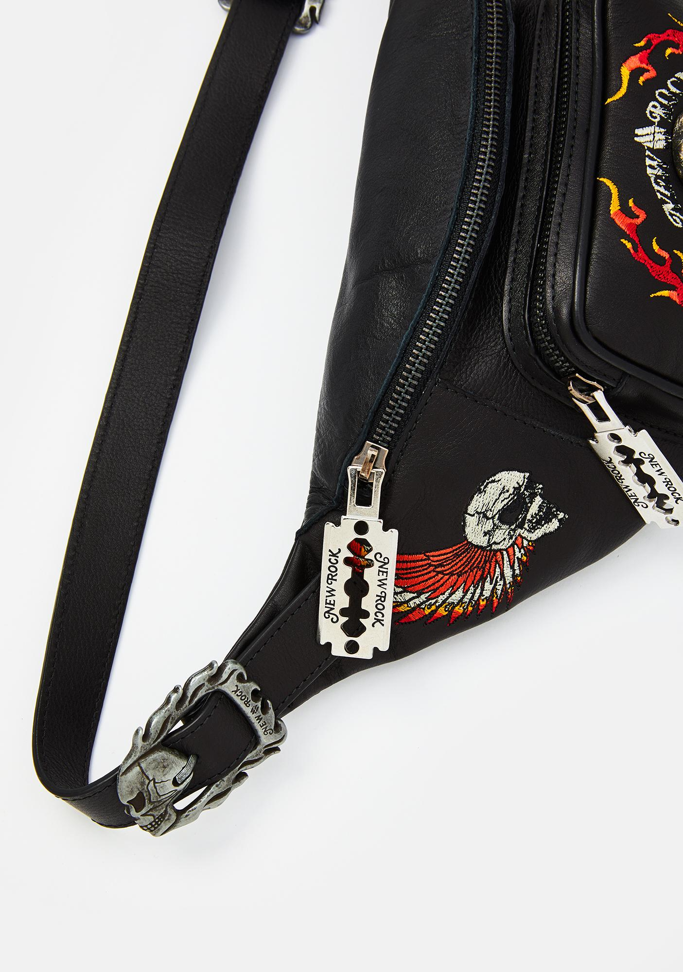 New Rock Flame Skull Leather Waist Bag