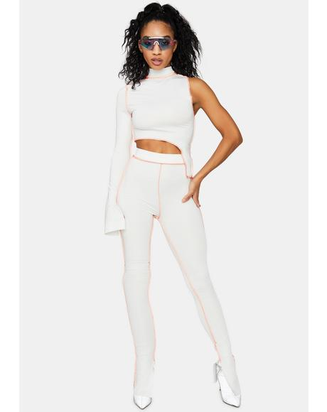 New Futurism Contrast Stitch Pant Set