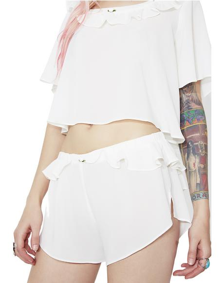 Ivory Little Rosette Sleep Shorts