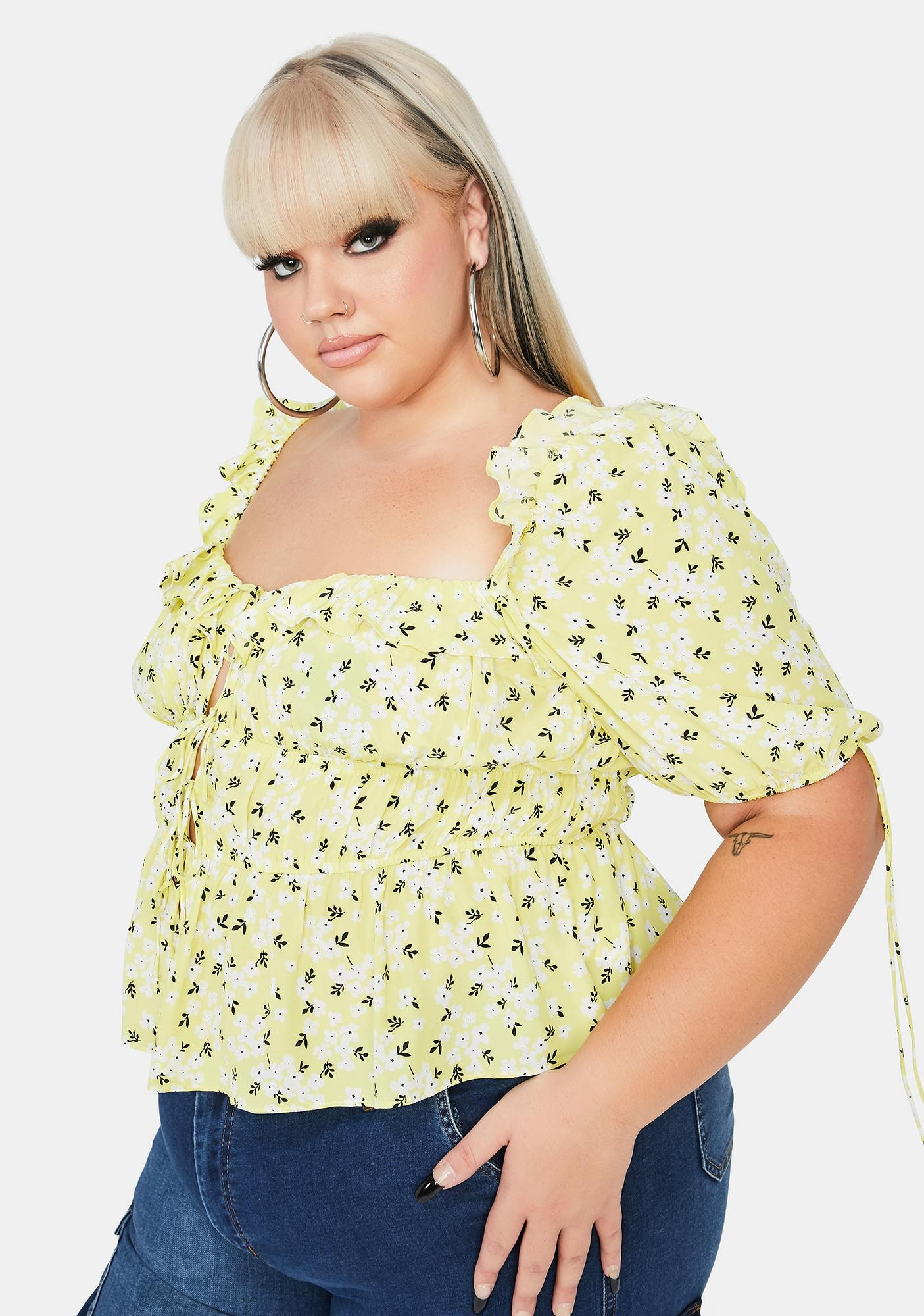For Love & Lemons Plus Chrysanthemum Crop Top