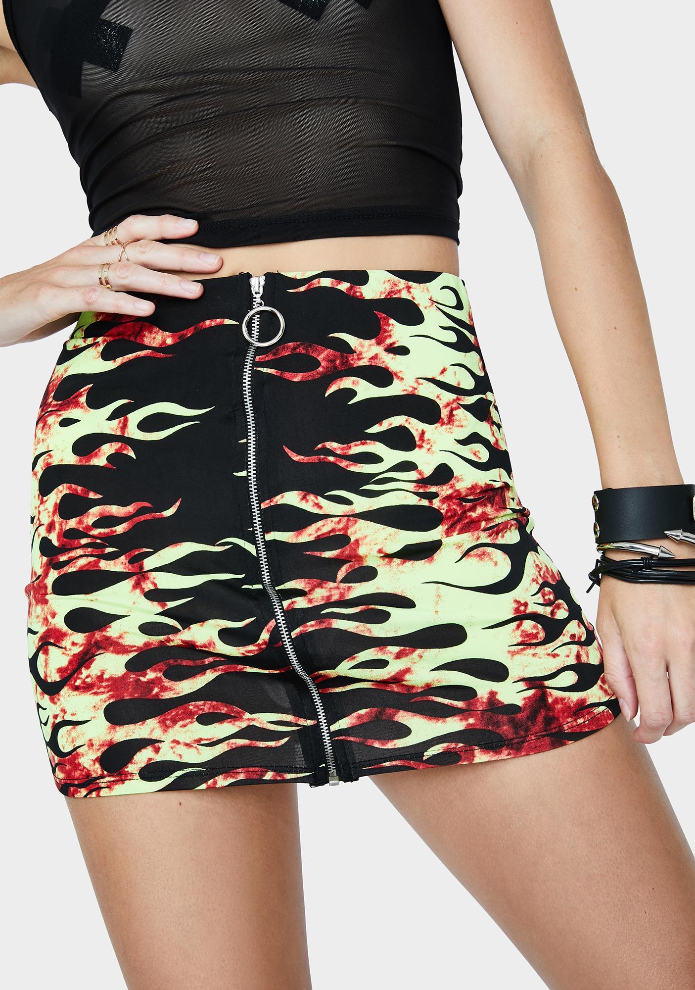 Flaming Rave Jungle Mini Skirt