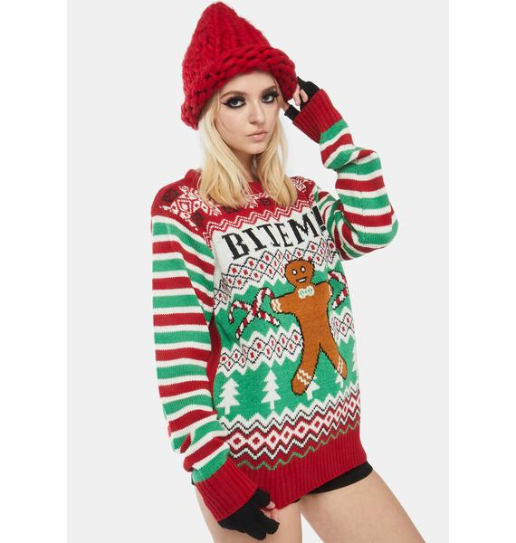 American Stitch Bite Me Christmas Holiday Sweater