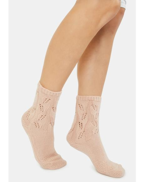 Blush No Place Like Home Pointelle Crew Socks