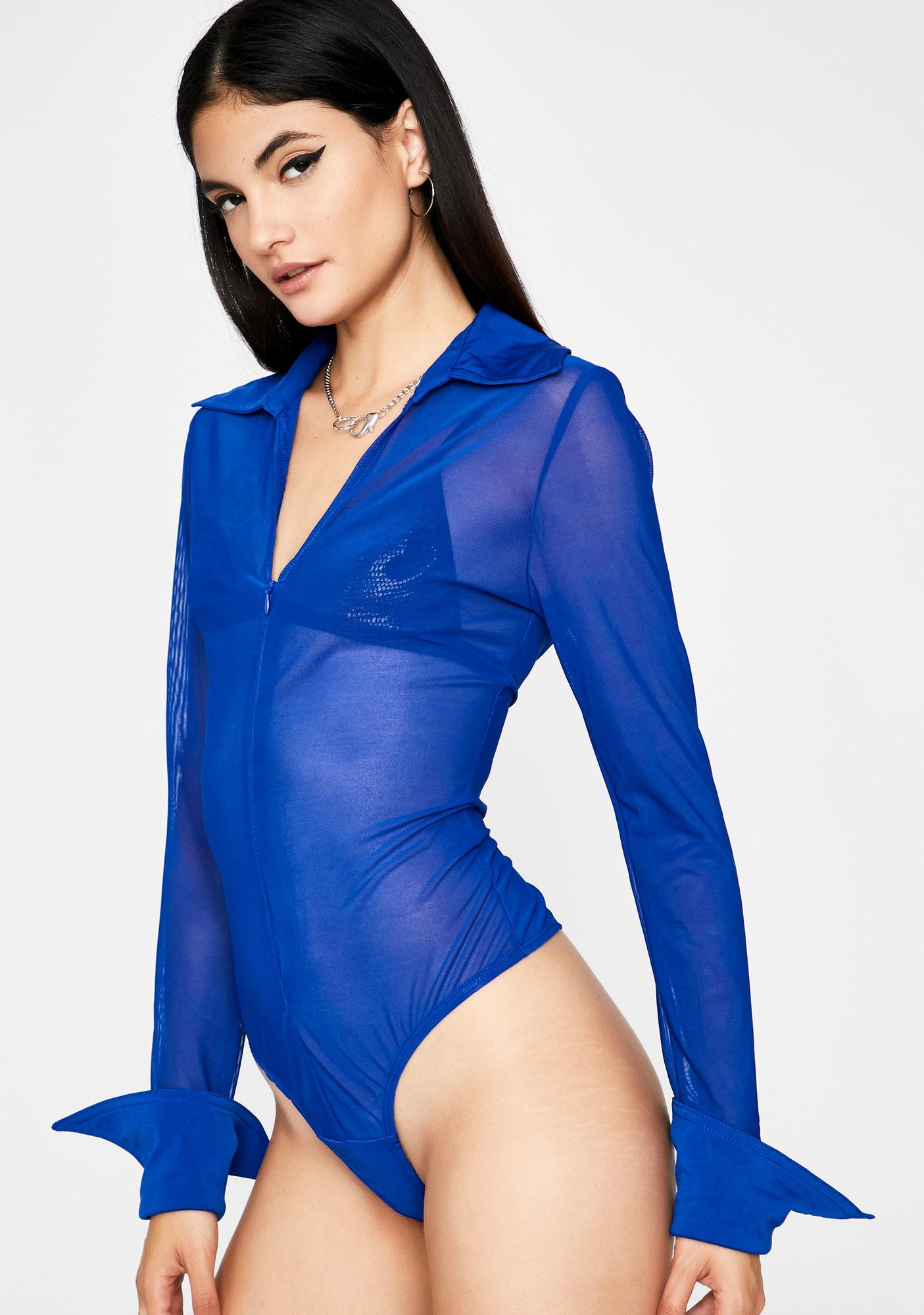 Wavy Movin' Up Collared Bodysuit