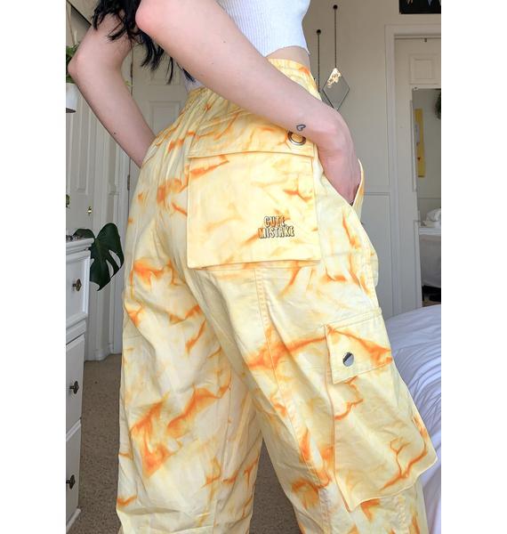 Cute Mistake Orange Tie Dye Get It Poppin Cargo Pants