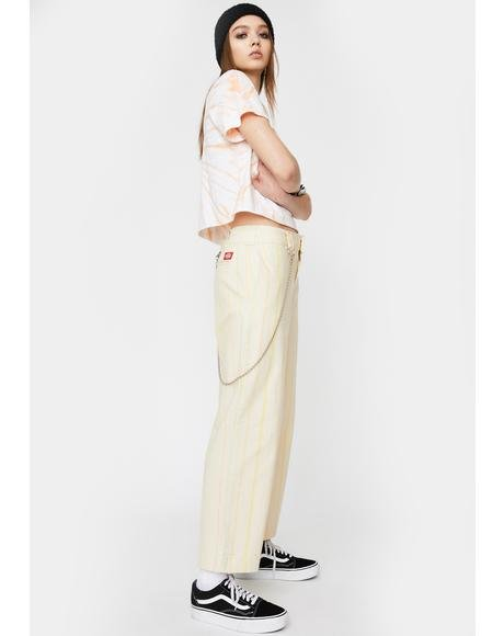 Striped Relaxed Crop Worker Pants