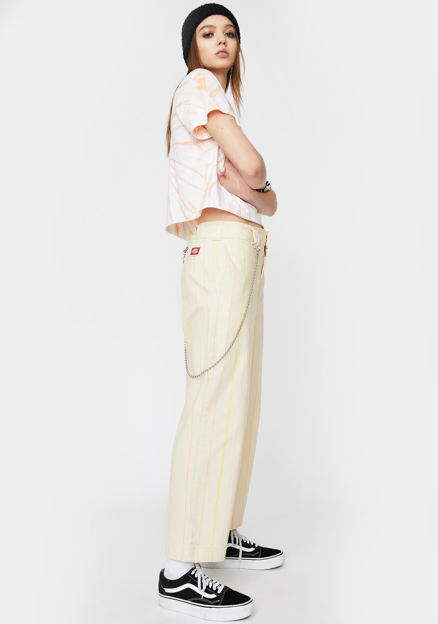 Dickies Girl Striped Relaxed Crop Worker Pants