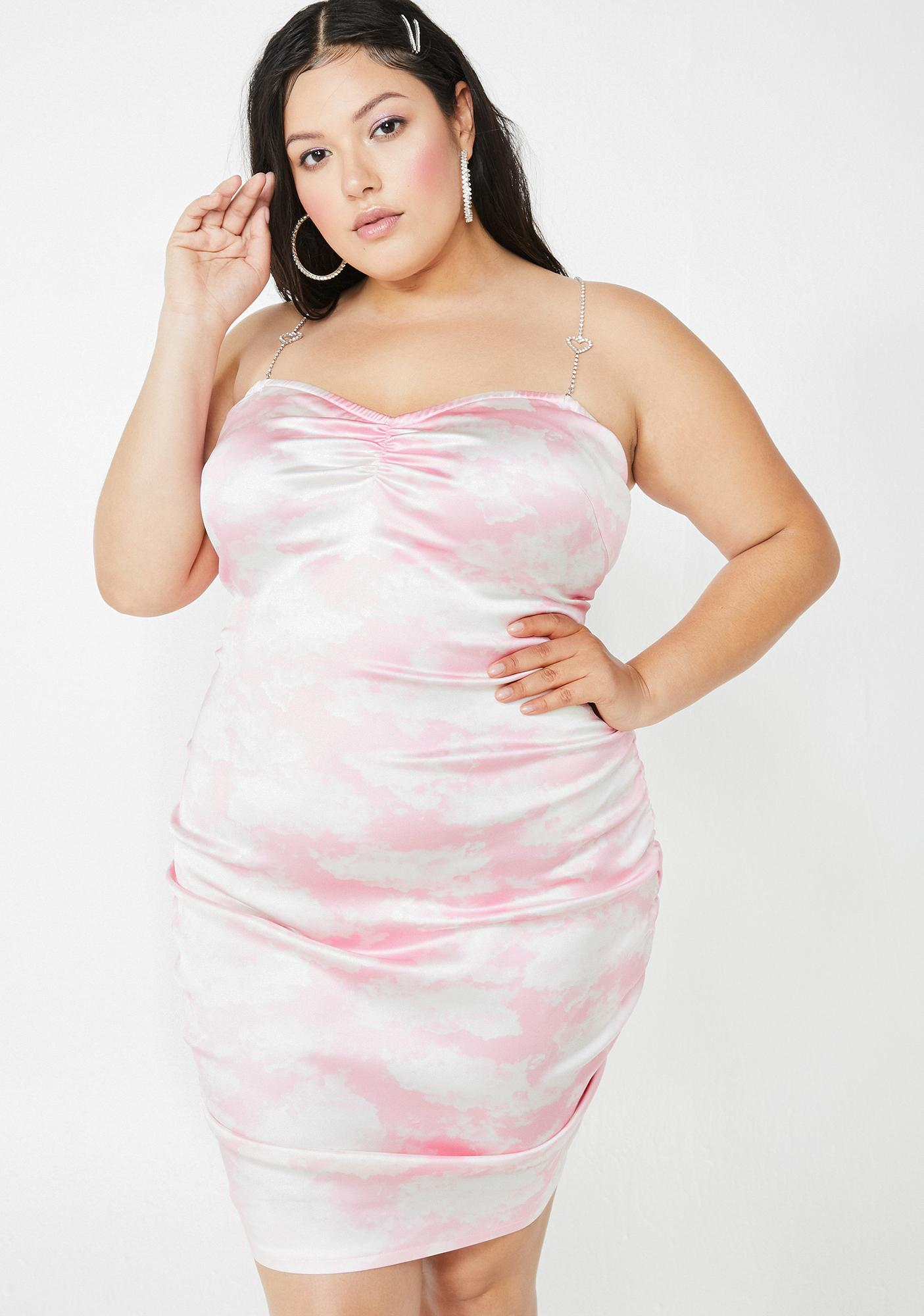 Miss Bliss Vision Satin Ruched Dress