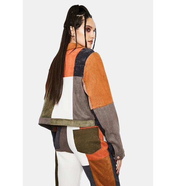 Jaded London Mixed Patchwork Cord And Vegan Suede Jacket