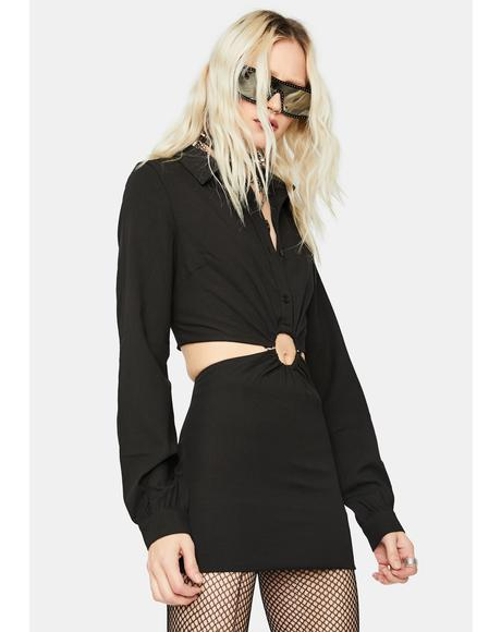Viral Baddie O-Ring Cutout Mini Dress