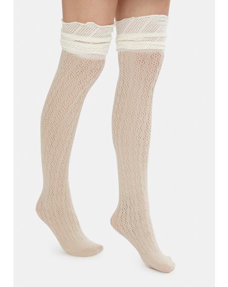 Cream Unsweet Dreams Thigh High Socks