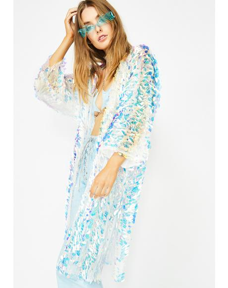 Aqua Glimmer Goddess Sequin Kimono