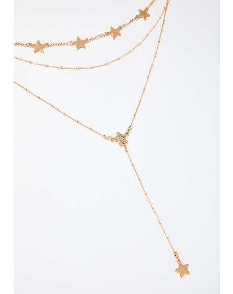 Golden Lariat Star Necklace