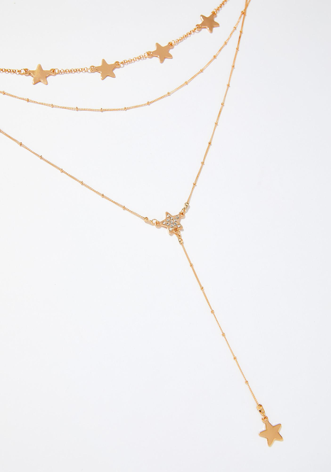Golden Lariat Star Necklace