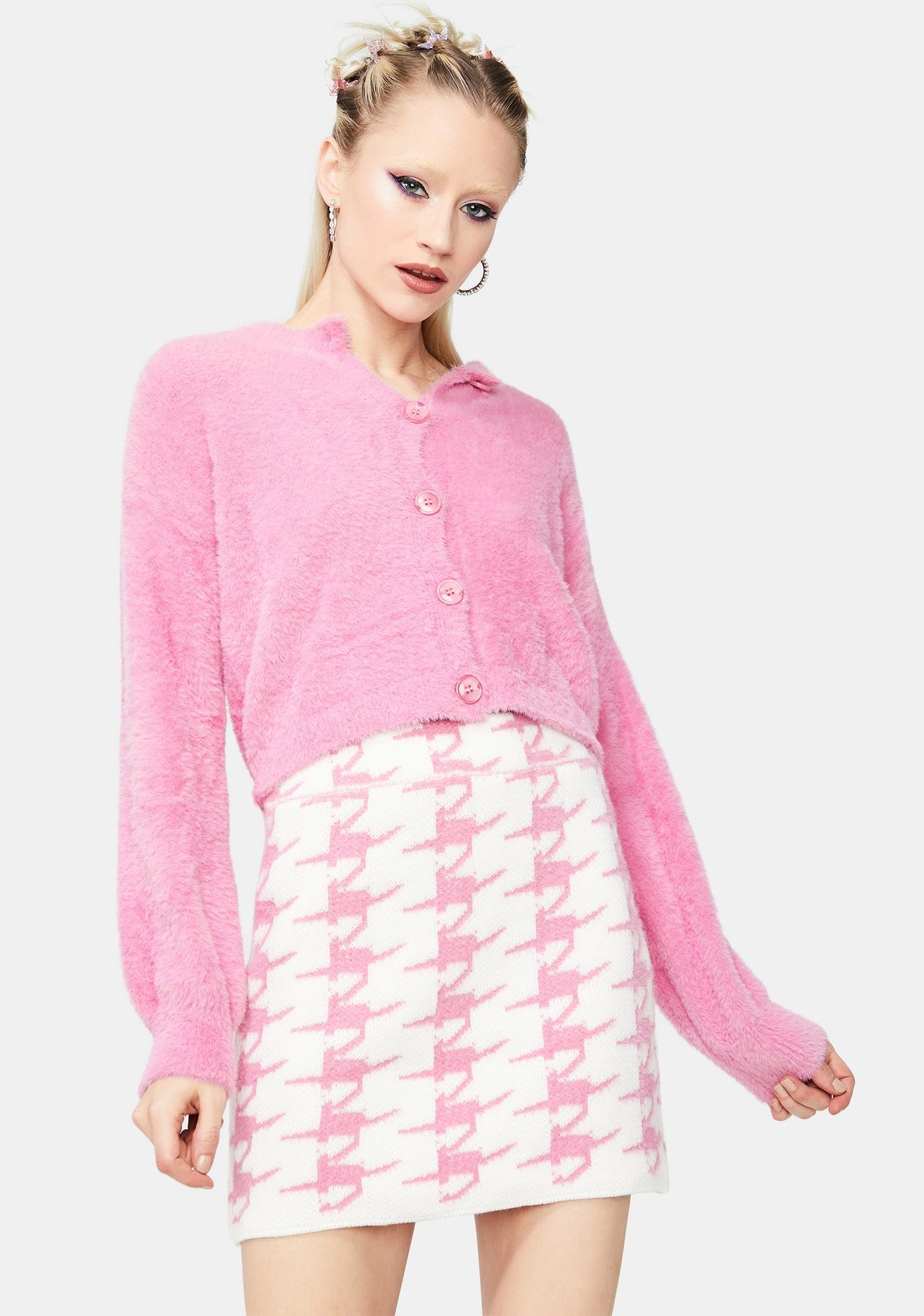 Class Act Cardigan And Houndstooth Skirt Set