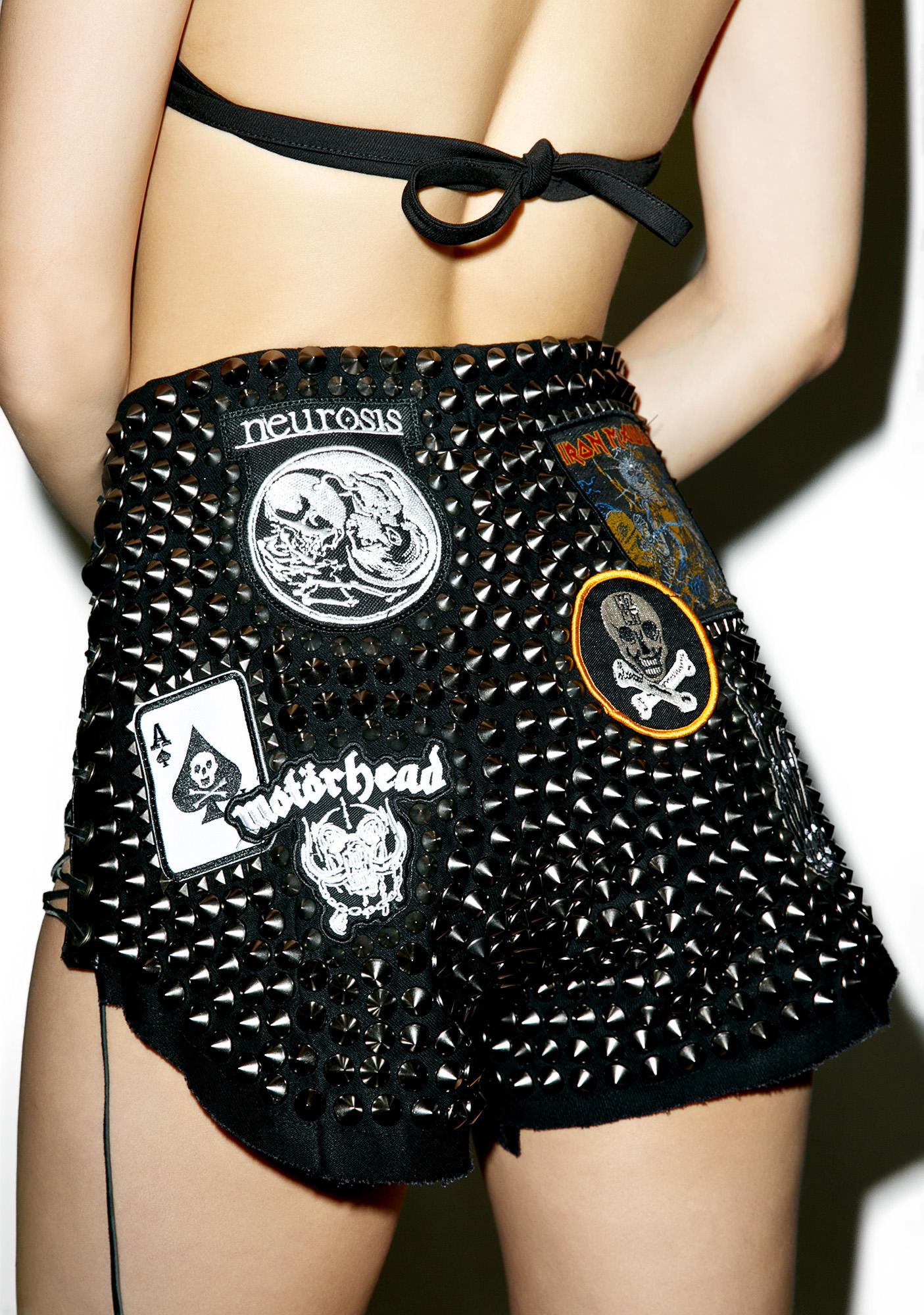 Hazmat Design Black High Waist Hell Raiser Shorts