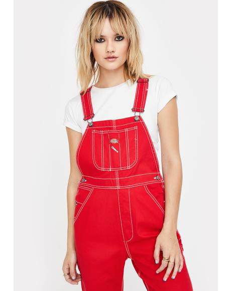 Cherry Relaxed Twill Overalls