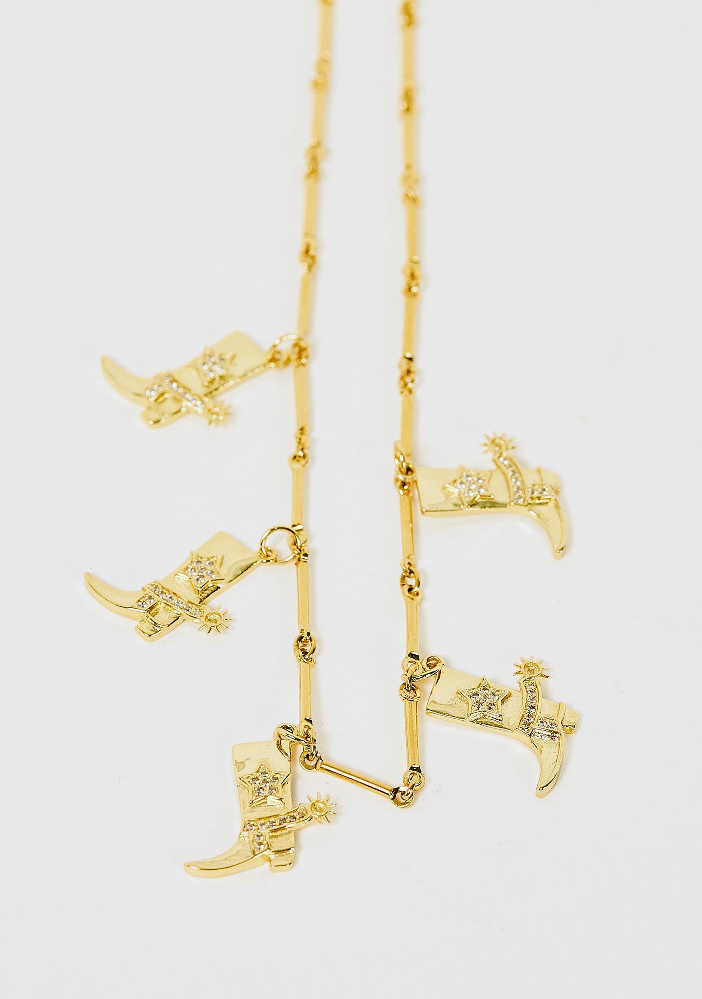 Desert Moon Gold Cowboy Boots Charm Necklace