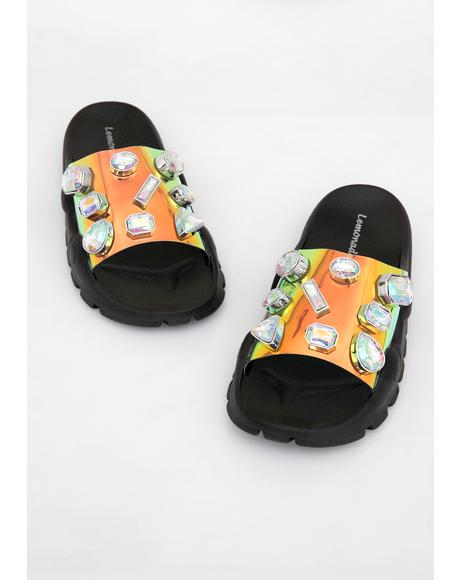 Onyx Cosmic Freak Jeweled Slides