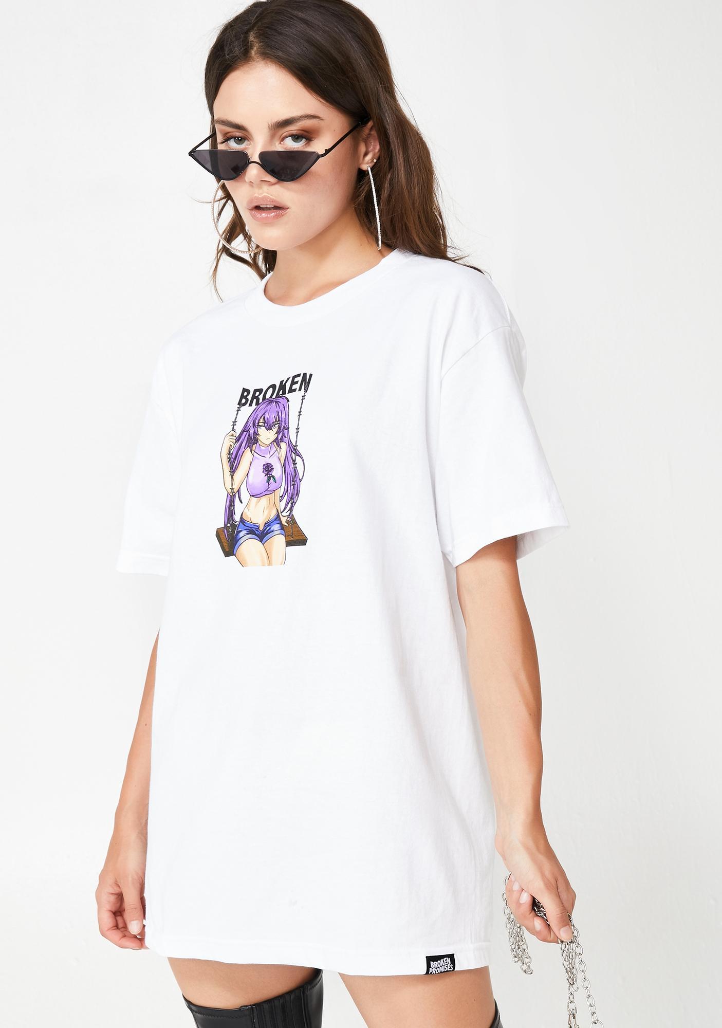 BROKEN PROMISES CO Broken Anime Girl Graphic Tee