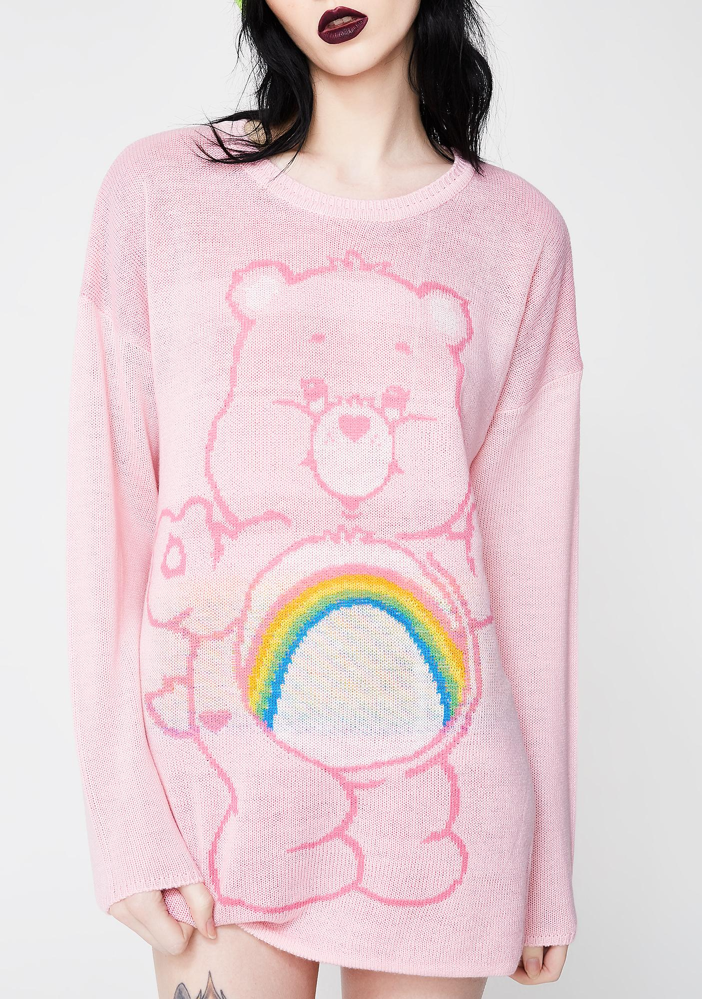 Iron Fist Pink Cheer Bear Slouch Sweater