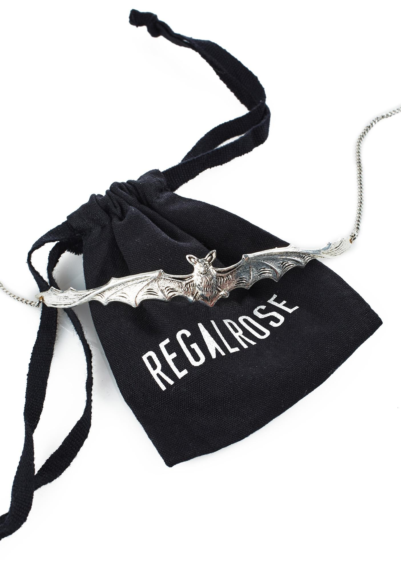 Regal Rose Lilith Silver Bat Choker