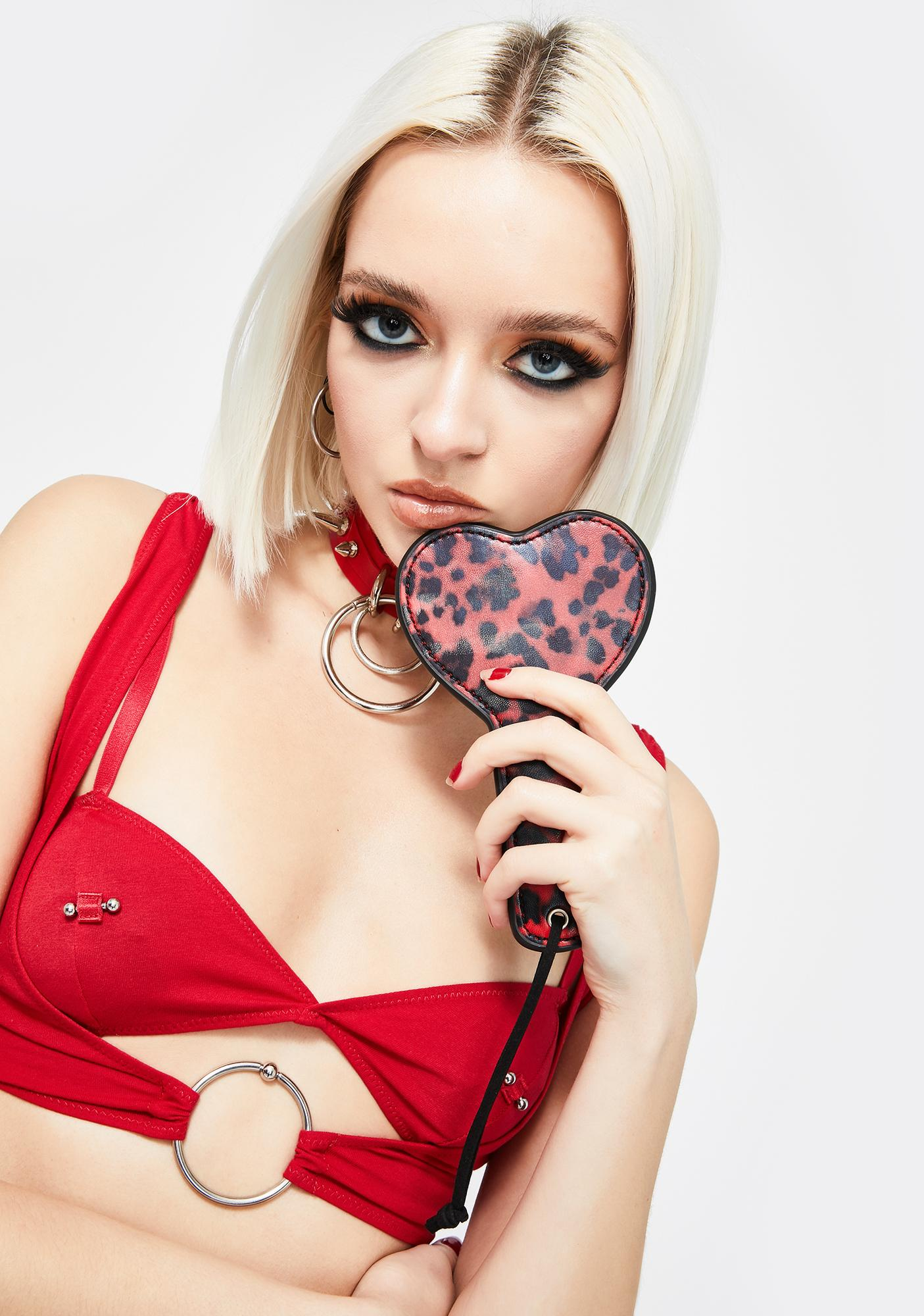 Forplay Red Leopard Heart Shaped Whip
