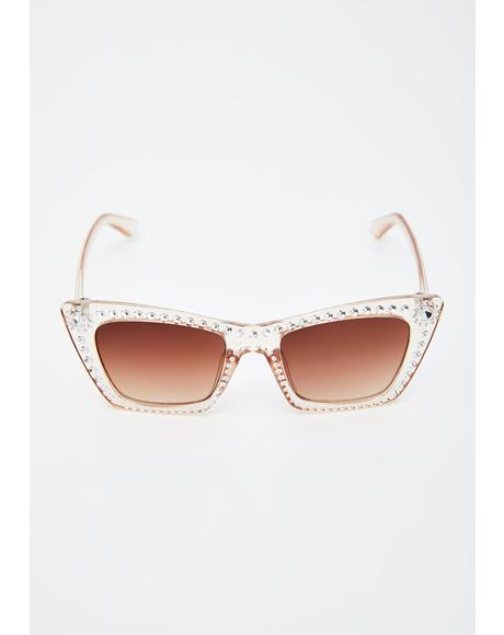 Clearly Something's Gotta Give Rhinestone Sunglasses