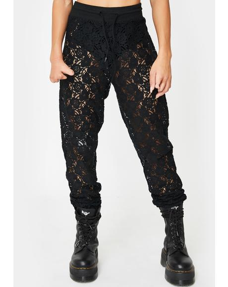 Exposed Elegance Lace Joggers