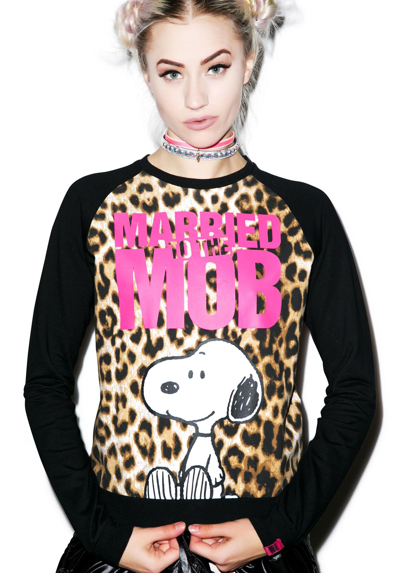 Married to the Mob Snoopy Crewneck Fleece