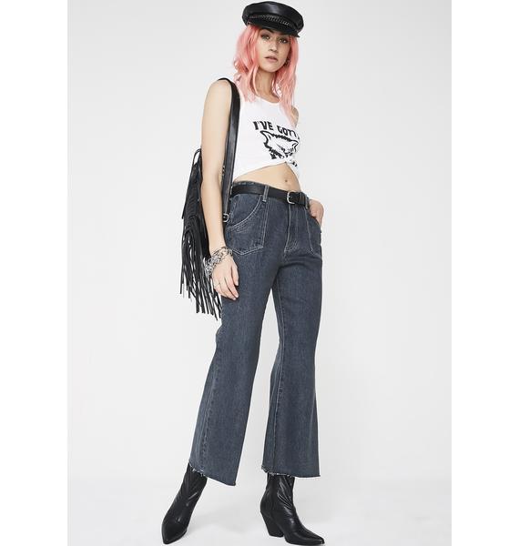 One Teaspoon Libertines High Waist Cropped Wide Leg Jeans