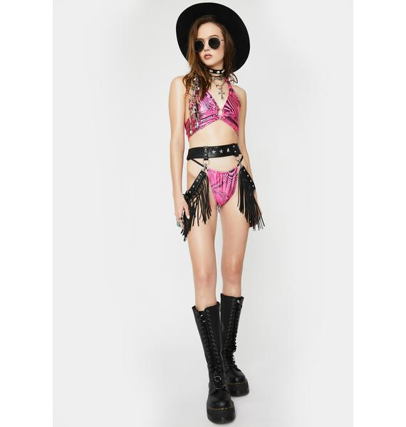 Cats Got The Cream Pink Trippy Dice O-Ring Lingerie Set