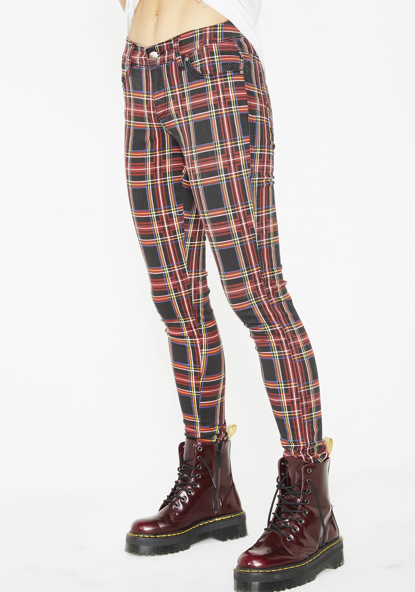 Tripp NYC Plaid T-Back Skinny Jeans