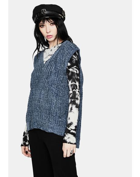 Midnight Hottie in Distressed Knit Sweater Vest